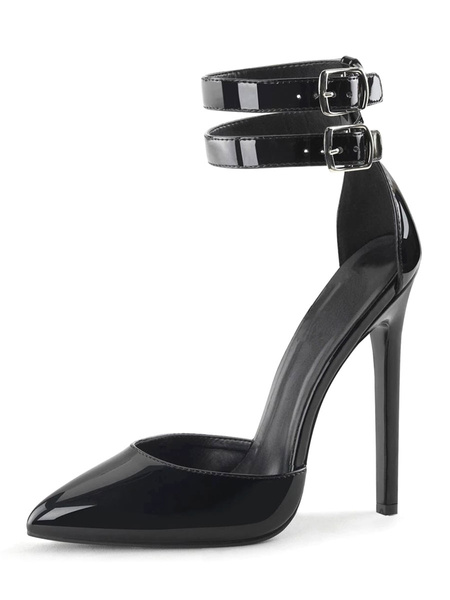 Milanoo Sexy Sandals For Woman Black PU Leather Pointed Toe Sequins Ankle Strap Sexy Shoes