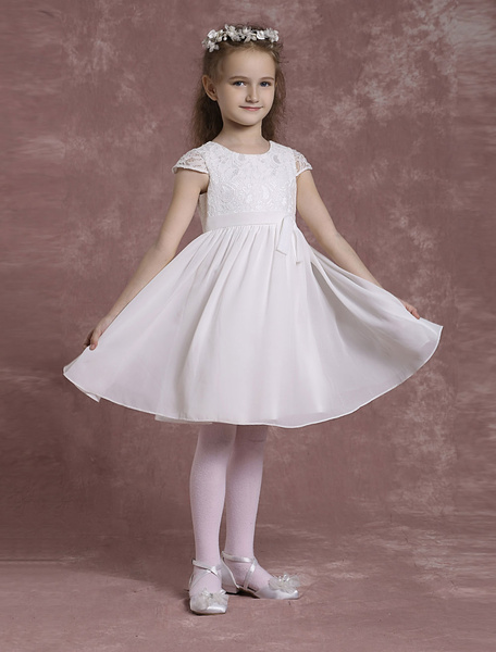 Milanoo Chiffon Flower Girl Dresses Lace A Line Pageant Dresses Toddler's Knee Length Crewneck Dinner Dress With Sash