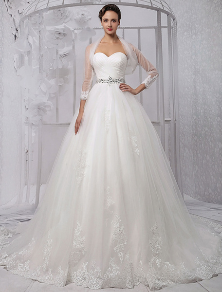 Milanoo Ball-Gown Sweetheart Chapel Train Tulle Wedding Dress With Ruffle Beading Sequins