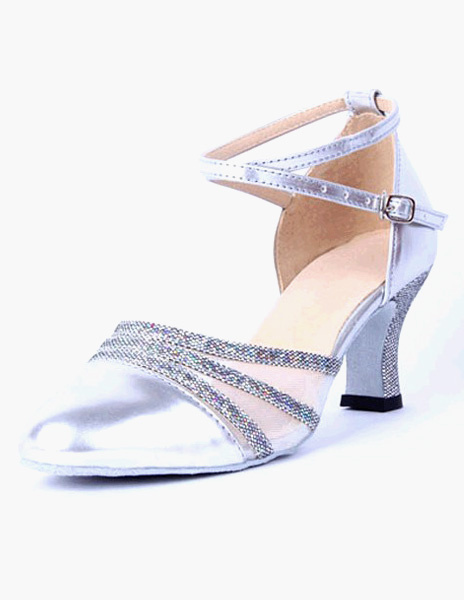 Milanoo Women Dance Shoes 2020 Pointed Toe Ankle Strap PU Leather Professional Ballroom Shoes