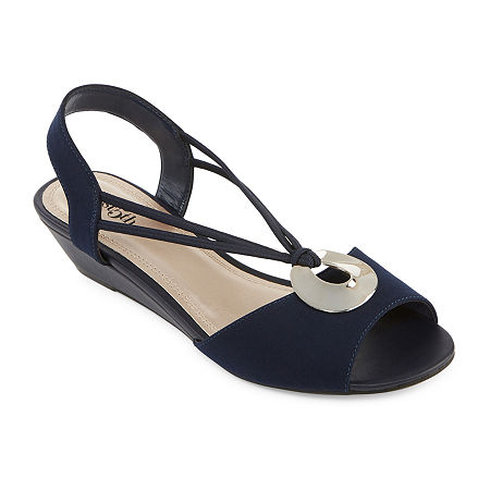 east 5th Womens Ravena Wedge Sandals, 9 Wide, Blue
