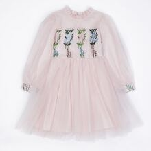 Girls Floral Embroidered Frill Trim Tulle Dress
