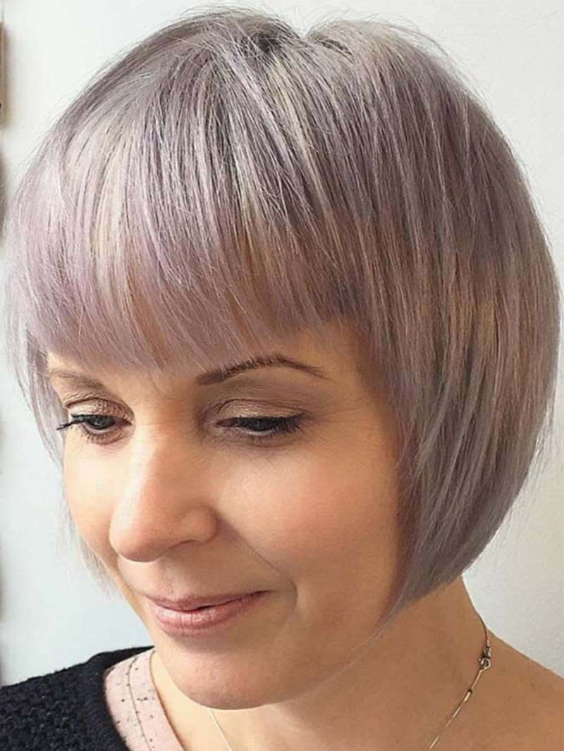 Ericdress Short Bob Hairstyle Women's Pastel Blonde Bob Straight Synthetic Hair Capless Wigs With Bangs 10Inch