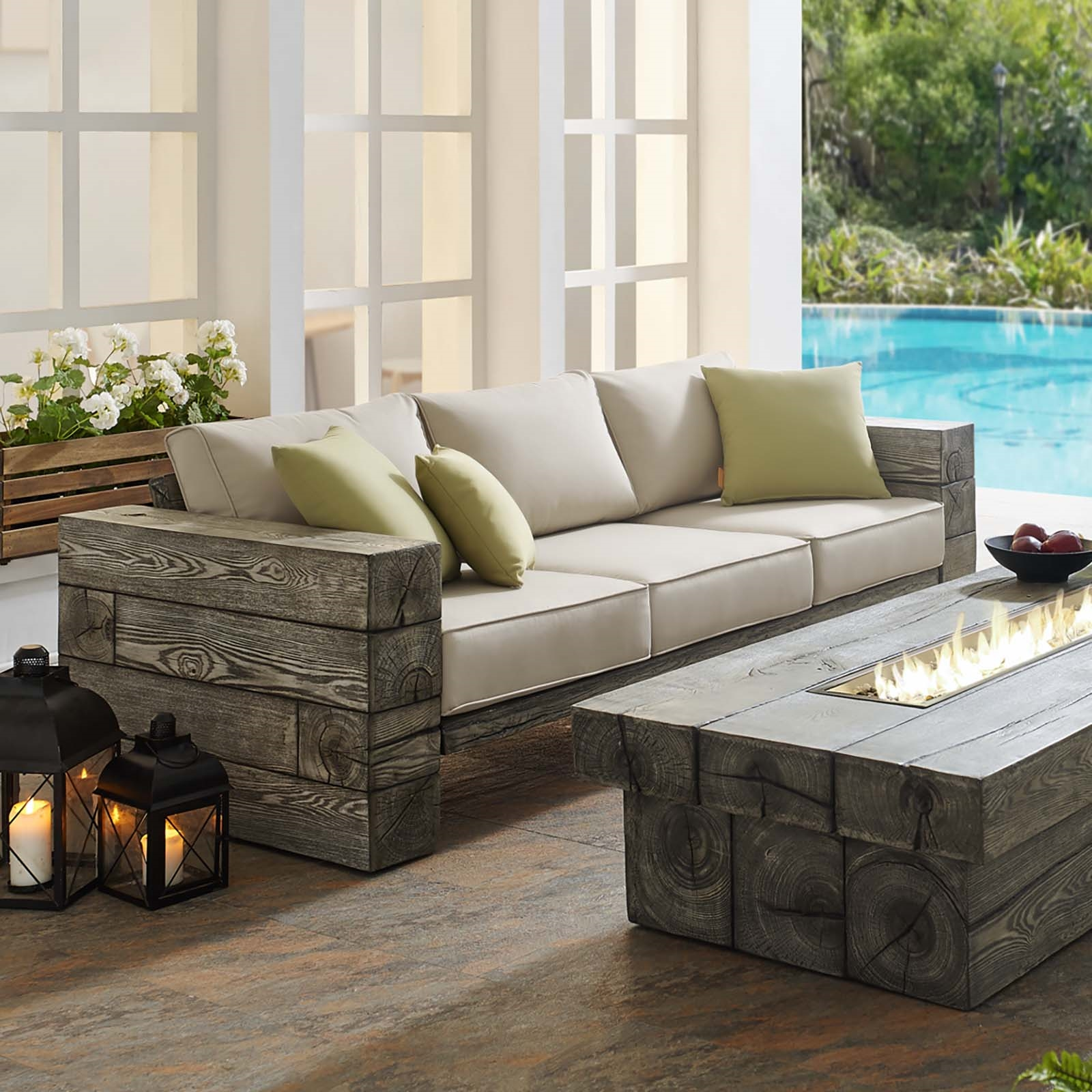 Manteo Rustic Coastal Outdoor Patio Sunbrella®  Sofa in Light Gray Beige