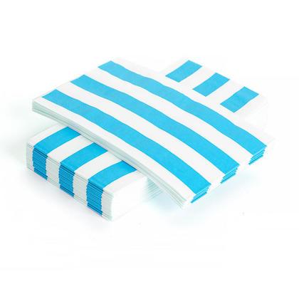 Stripe Paper Guest Towel Dinner Napkin 33*40CM 3Ply Teal 24Pcs - Living Basics™