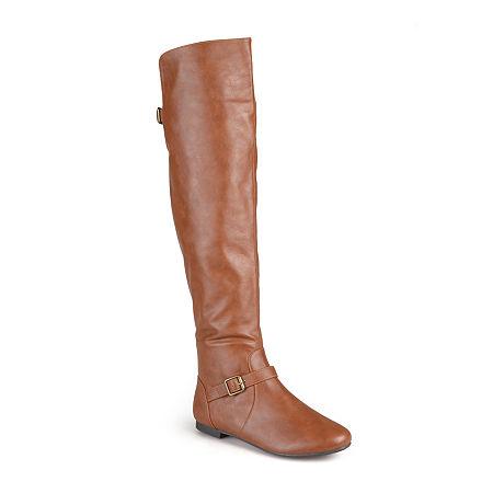 Journee Collection Womens Loft Wide Calf Knee-High Riding Boots, 6 Medium, Brown