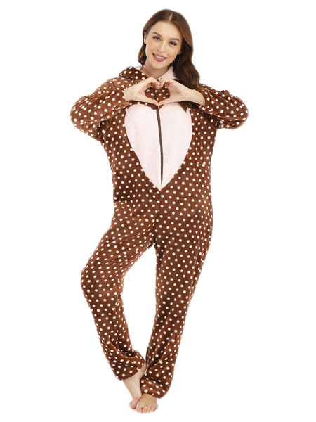 Milanoo Kigurumi Pajamas Onesie Sweetheart Bunny Khaki Flannel for Adult Winter Sleepwear Animal Costume Halloween