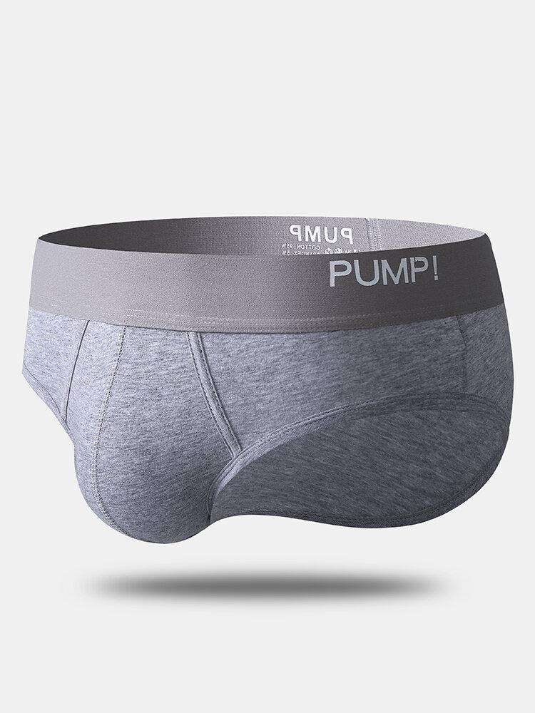 Men Sexy Cotton Plain Briefs Comfortable Solid Color Full Rise Contour Pouch Underwear
