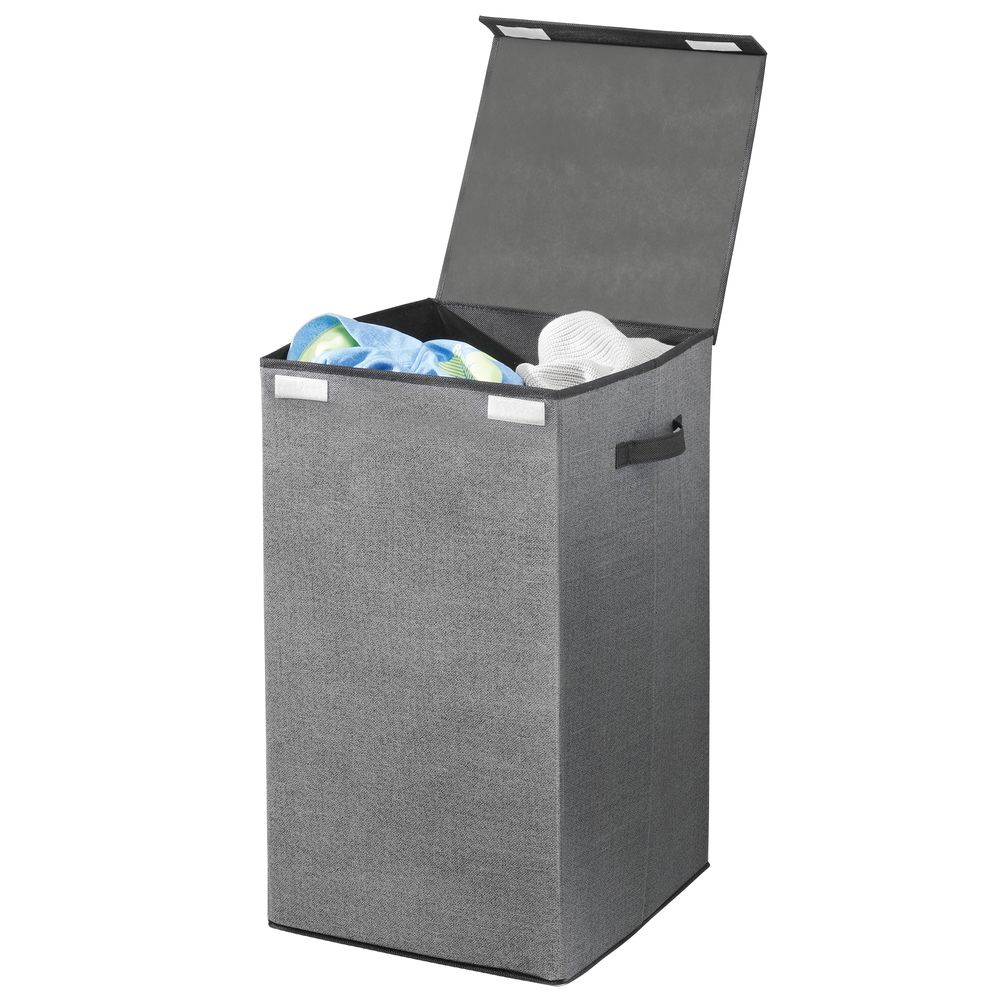 Collapsible Fabric Laundry Hamper Basket with Lid in Charcoal/Black, 14