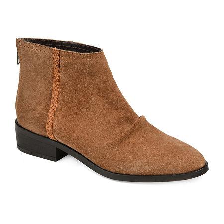 Journee Signature Womens Bree Booties Stacked Heel, 6 Medium, Brown