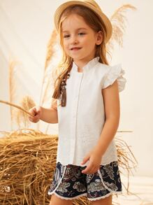 Toddler Girls Solid Ruffle Trim Button Front Blouse