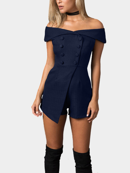 Yoins Navy Off Shoulder Playsuit with Button Design