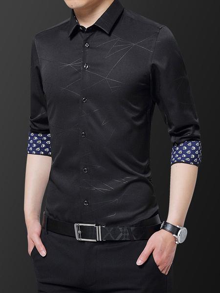 Milanoo Men Formal Shirt Plus Size Print Button Down Slim Fit Long Sleeve Dress Shirt