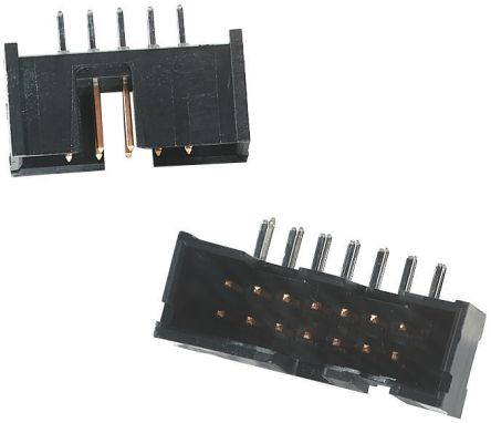 TE Connectivity AMP-LATCH Series, 2.54mm Pitch, 14 Way 2 Row Shrouded Right Angle PCB Header, Through Hole