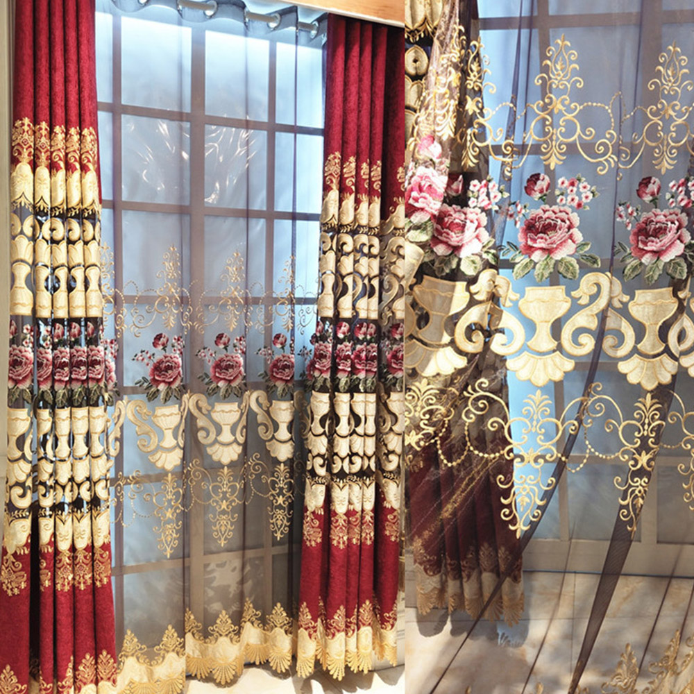 European Luxury Floral Embroidery Sheer Curtains for Living Room Custom 2 Panels Breathable Drapes No Pilling No Fading No off-lining