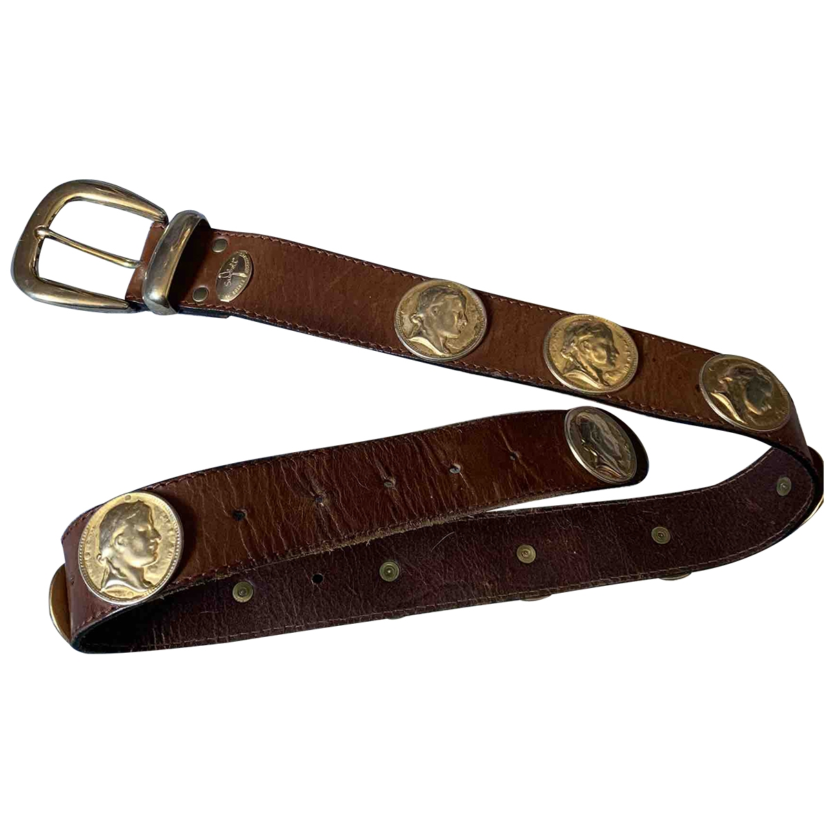 Non Signé / Unsigned \N Brown Leather belt for Women 90 cm