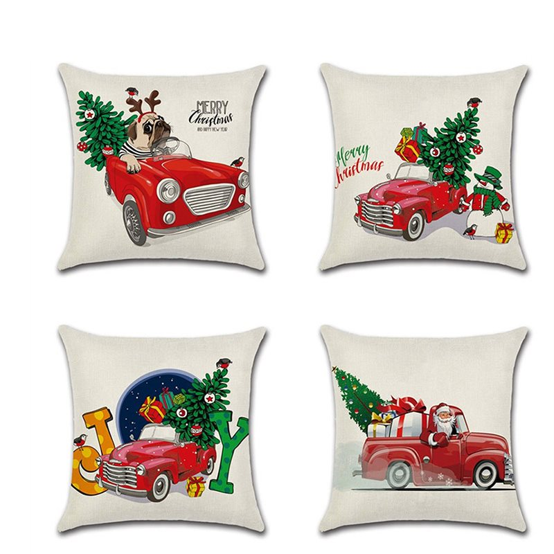 Christmas Is Coming!1Piece High Quality Plain Flax Cheerful Christmas Theme Pattern Pillowcase (1 Pillowcase Without Pillow Core)