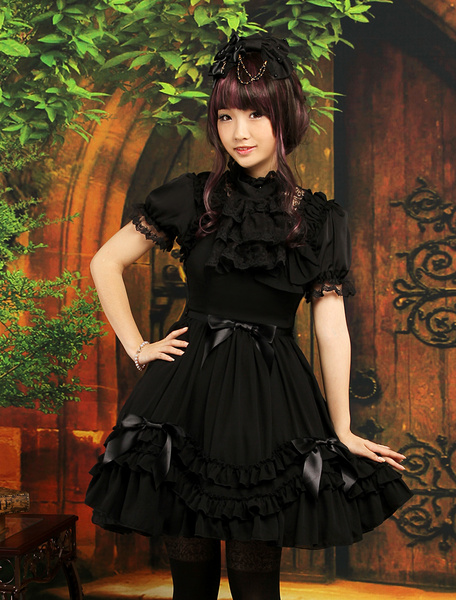 Milanoo Sweet Black Straps Neck Bow Chiffon Cute Lolita Jumper Skirt