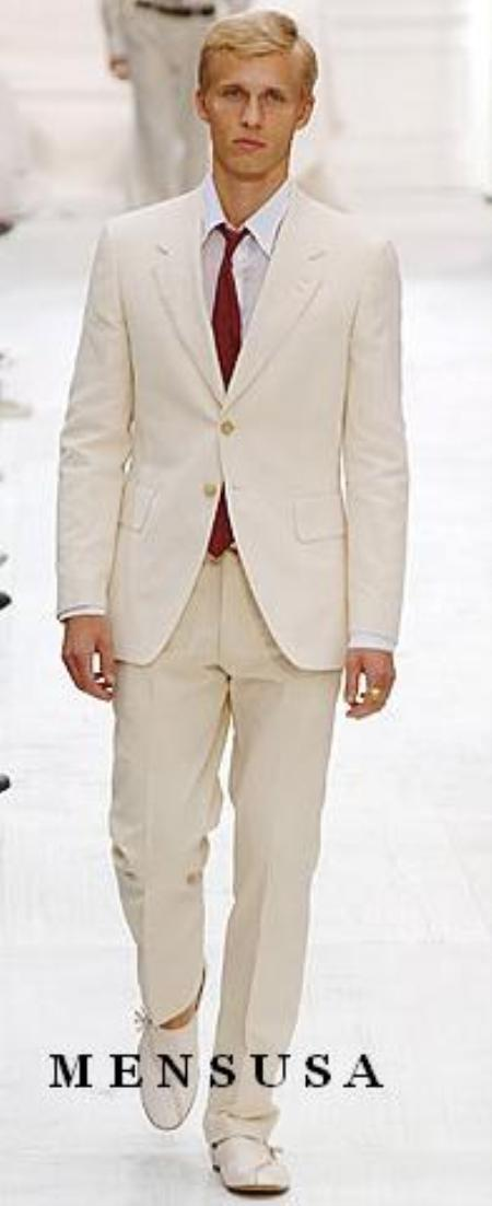 Highest Quality Two Button Style Ivory/Cream Suit