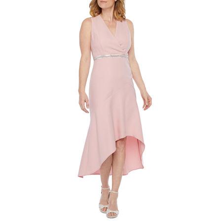Scarlett Sleeveless Embellished High Low Dress, 12 , Red