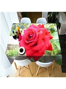 3D Vivid Red Rose Printed Modern Style Kitchen Table Cover Cloth