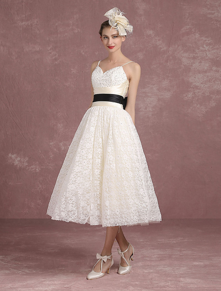 Milanoo Summer Wedding Dresses 2020 Lace Vintage Ivory Bridal Gown Spaghetti Strap Beading Backless Tea Length Princess Bridal Dress With Ribbon Sash
