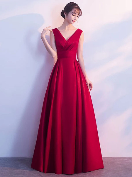 Milanoo Burgundy Evening Dresses Long V Neck Sleeveless Pleated A Line Floor Length Evening Dress