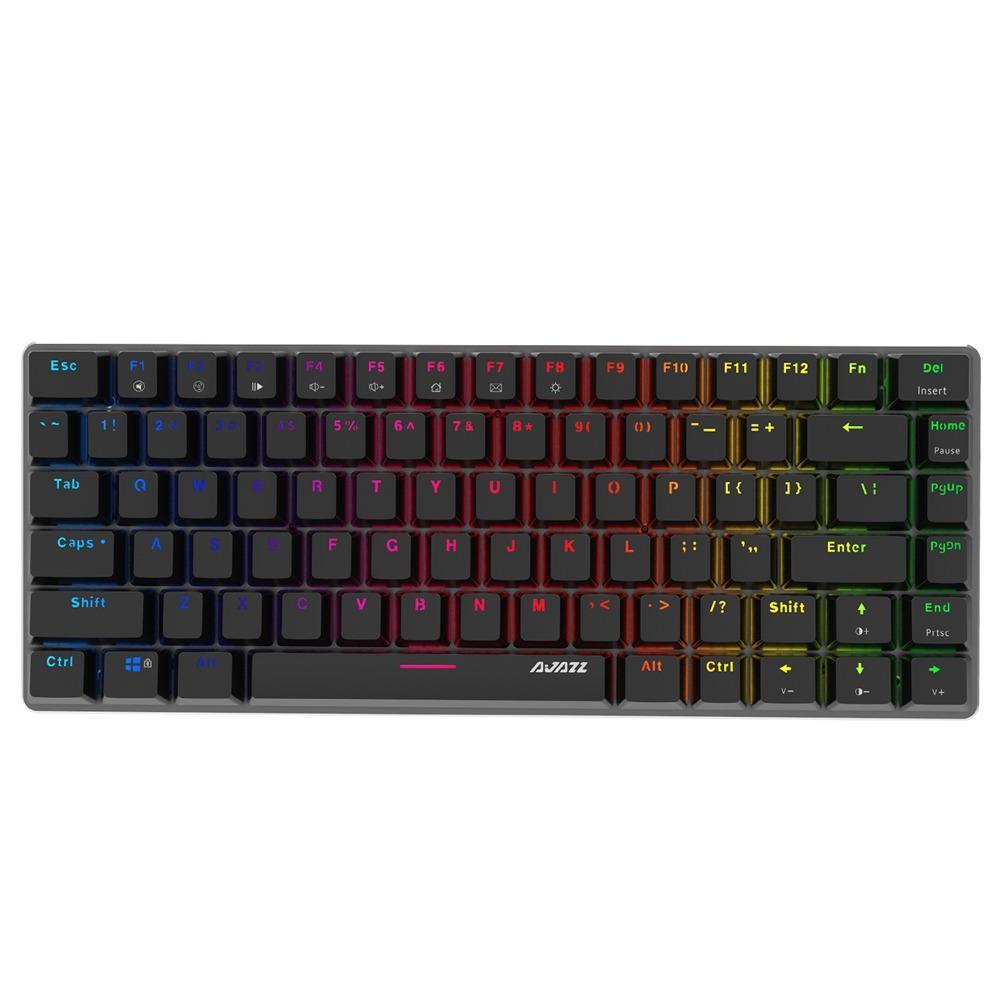 Ajazz AK33RGB Wired Mechanical Keyboard Ergonomic 82keys Anti-ghosting RGB Backlight Black Switch - Black