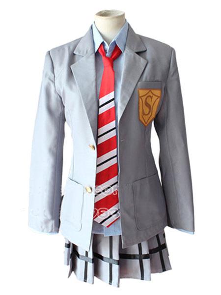 Milanoo Your Lie In April Miyazono Kawori Cosplay Costume School Girl Uniform Halloween