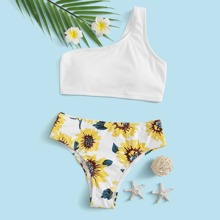 Girls Sunflower Print One Shoulder Bikini Swimsuit