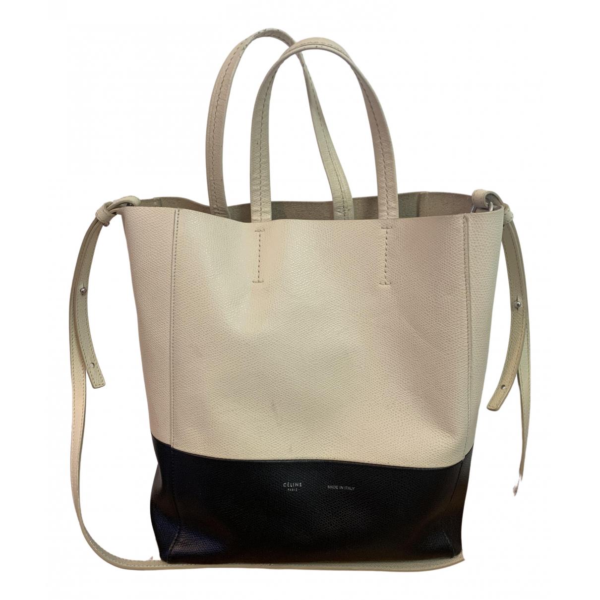 Celine Cabas PM White Leather handbag for Women \N
