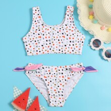 Toddler Girls Dalmatian Tie Side Bikini Swimsuit