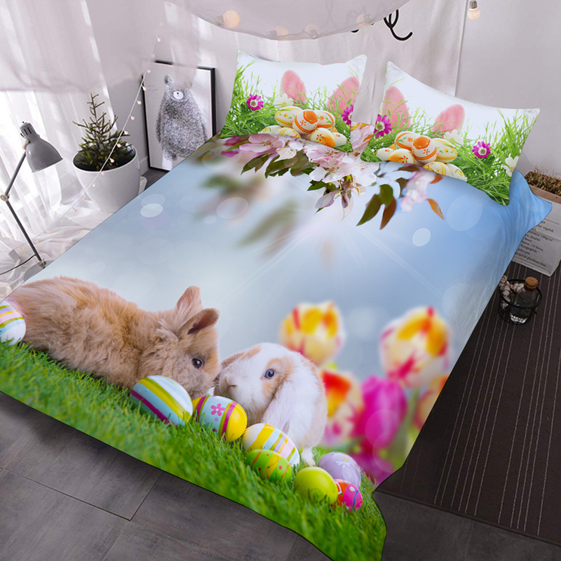 3D Rabbits and Easter Egg Lightweight Comforter 3-Piece Durable Washable Comforter Set with 2 Pillow Shams