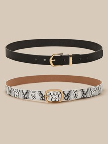 2 pieces Snakeskin Print PU Buckle Belt