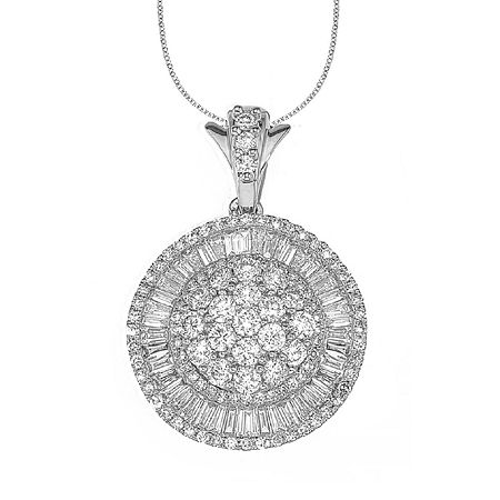 Womens 2 CT. T.W. Genuine White Diamond 14K Gold Pendant Necklace, One Size , No Color Family