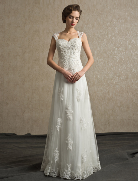 Milanoo Beading A-line Floor-Length Ivory Bridal Wedding Dress with Straps Neck