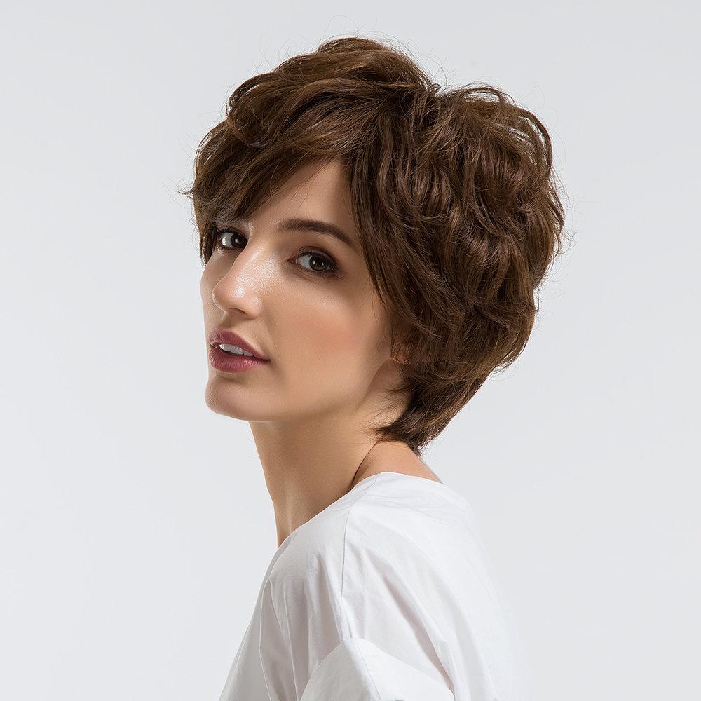 10 Inch Human Hair Short Wigs Fashion Natural Curly Wigs Real Human Hair Fiber Hair Mixed Wigs Women