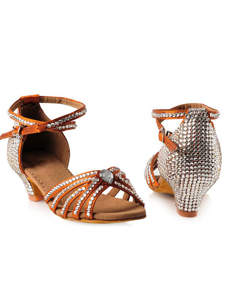 Milanoo Latin Dance Shoes Silk And Satin Brown Open Toe Dance Shoes With Rhinestones