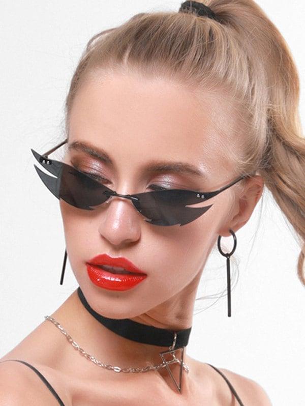 Punk Fire Shape Rimless Sunglasses