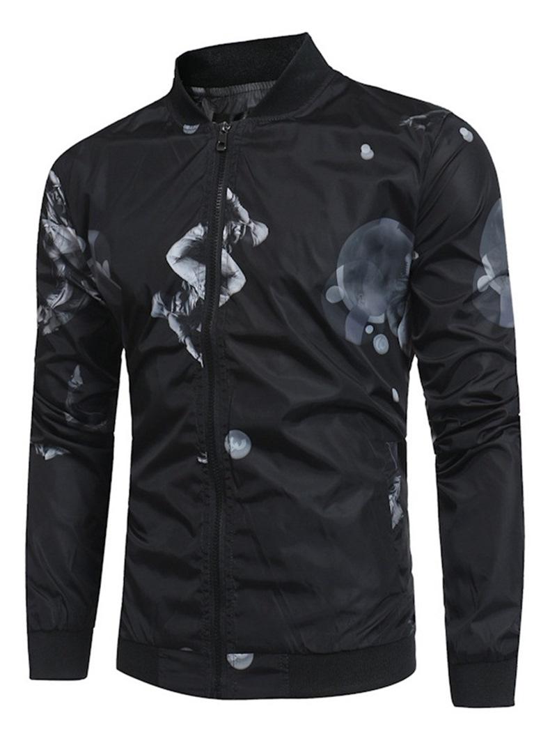 Ericdress Printed Stand Collar Mens Slim Jacket