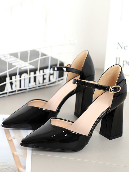 Milanoo Women's High Heels Pointed Toe Chunky Heel Black Pumps