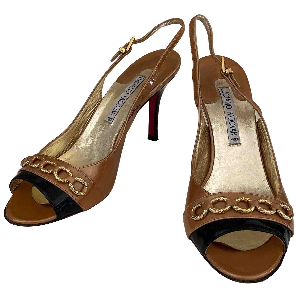 Luciano Padovan \N Camel Patent leather Sandals for Women 40 EU