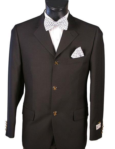 Men's Single Black Blazer 100% Wool 3 Button Classic Fit Blazer