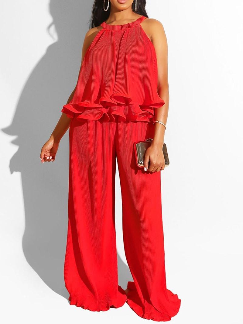 Ericdress Plain Ruffles Loose Women's Suit Vest And Pants Two Piece Sets