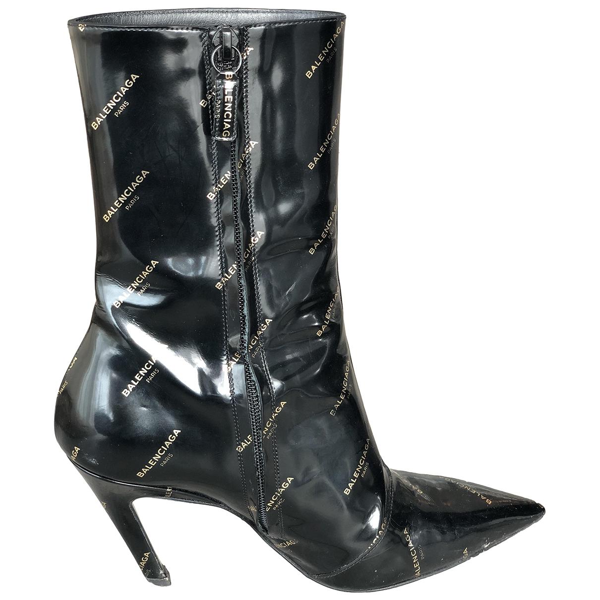 Balenciaga Slash Logo Black Patent leather Ankle boots for Women 37 EU