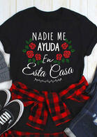Presale - Mexican Letter Graphic Rose T-Shirt Tee - Black