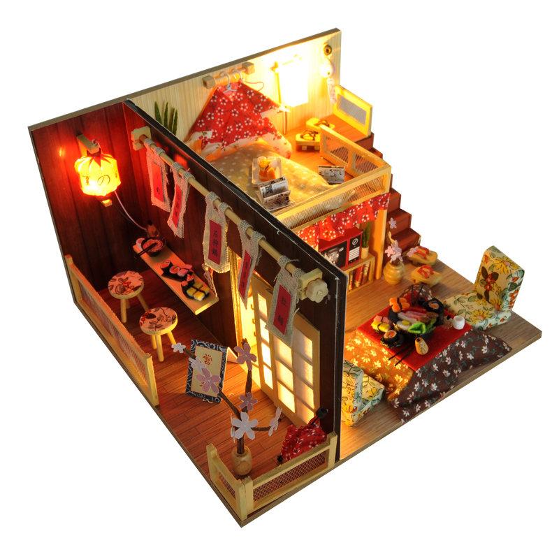 DIY Kits Sakura Monogatari House With LED+Cover House Furniture Model