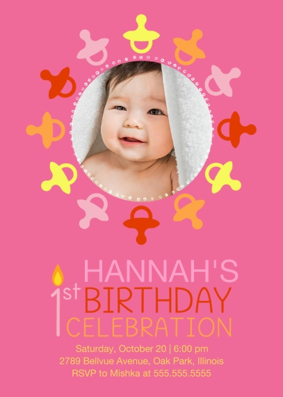 1st Birthday Invitations Mail-for-Me Premium 5x7 Folded Card , Card & Stationery -1st Birthday Pacifiers