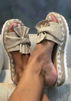 Summer Bowknot Round Toe Wedged Slippers