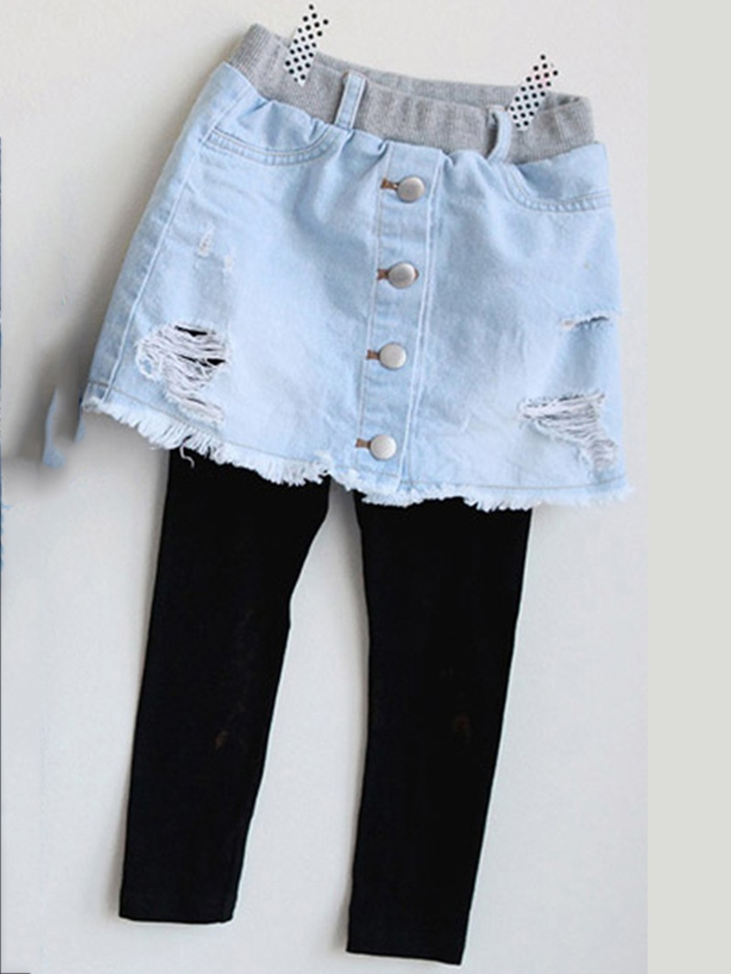 Ericdress Hole Denim Skirt & Plain Leggings Girl's Culottes